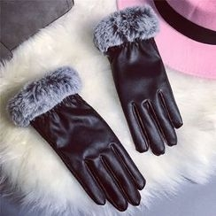 Pompabee - Furry Trim Faux Leather Gloves