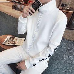 JORZ - Set: Lettering Applique Stand Collar Zip Jacket + Jogger Pants
