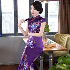 Janelle Qipao - Cap-Sleeved Flower-Print Maxi Qipao
