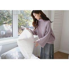 Hello sweety - Turtle-Neck Sweater Raglan-Sleeve Sweater
