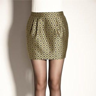 Moonbasa - Jacquard Metallic Mini Skirt