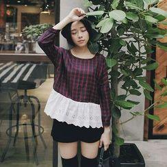 Tokyo Fashion - Eyelet Lace Hem Long-Sleeve Plaid Top