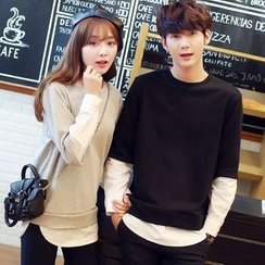 Evolu Fashion - Couple Matching Long-Sleeve Mock Two Piece T-Shirt
