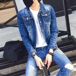 Denimic - Distressed Washed Denim Jacket