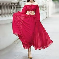 Rebecca - Off-Shoulder Cutout Maxi Dress