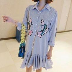 Jolly Club - Long-Sleeve Embroidery Ruffle Shirtdress