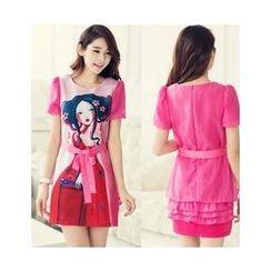SUYISODA - Print Short-Sleeve Dress with Sash