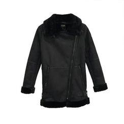 A7 SEVEN - Faux Shearling Biker Jacket