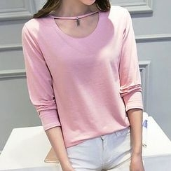 Fashion Street - Cut Out Front Long Sleeve T-Shirt