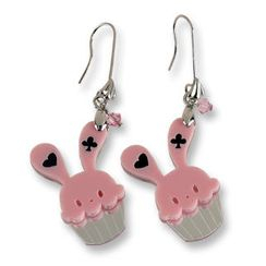 Sweet & Co. - Sweet Pink Bunny Cupcake of Heart Swarovski Crystal Dangle Earrings