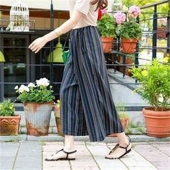PIPPIN - Drawstring-Waist Pattern Wide-Leg Pants