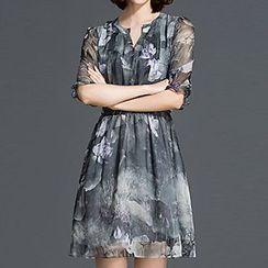 Sugar Town - Elbow-Sleeve Print Dress