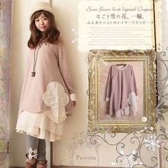 Nectarine - Long-Sleeve Lace-Panel Dress