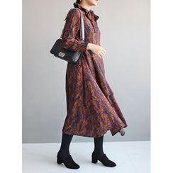 STYLEBYYAM - Patterned Ribbon-Neck Layered Dress