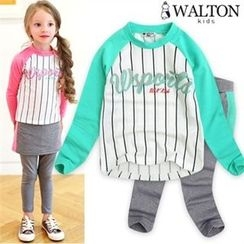 WALTON kids - Kids Striped Raglan-Sleeve Top + Inset Skirt Leggings