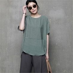 HALUMAYBE - Drop-Shoulder Striped Top