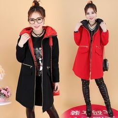 Prettin - Pocketed Long Hooded Jacket