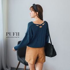 PUFII - V領後交叉針織毛衣