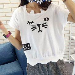 Tulander - 猫咪印花扇形摆短袖T恤