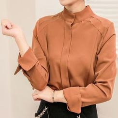 Seoul Fashion - High-Neck Hidden-Button Chiffon Blouse