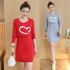 Carna - Maternity Heart Print Long Sleeve Nursing Dress
