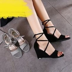 Mancienne - Lace-Up Wedge Sandals