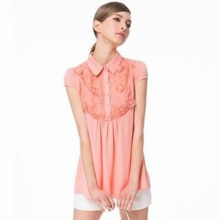 O.SA - Lace-Bib Long Blouse