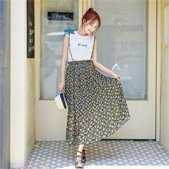clicknme - Suspender Patterned Chiffon Long Skirt