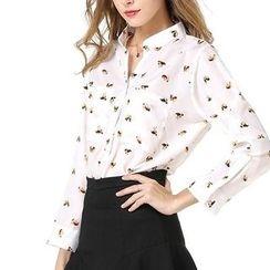 LIVA GIRL - Printed Open Placket Shirt