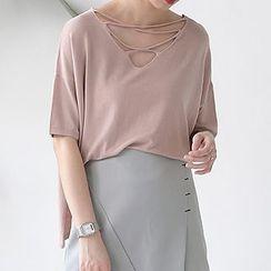 ELLY - Strappy Knit Short-Sleeve T-Shirt