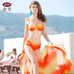 GIZZI - 套装: 印花比基尼泳衣 + 罩衫