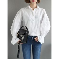 STYLEBYYAM - Balloon-Sleeve Cotton Blouse