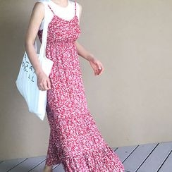 STYLEBYYAM - Floral Patterned Sleeveless Gathered-Waist Maxi Dress