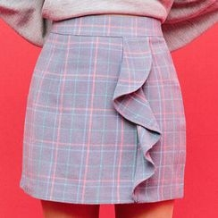 chuu - Frill-Trim Wool Blend Plaid Mini Skirt