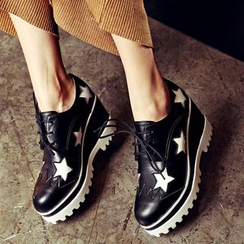 JY Shoes - Star Wedge Oxfords