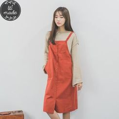 WITH IPUN - Pocket-Front Buttoned Suspender Dress