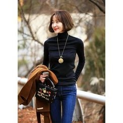 ssongbyssong - Turtle-Neck Slit-Sleeve Top