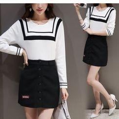 Mandalle - Set : Patterned Knit Top + Skirt
