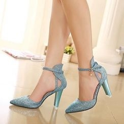 Mancienne - Ankle-Strap Glitter Chunky-Heel Pumps