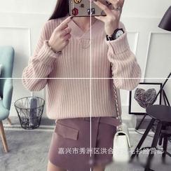 Poppy Love - Plain V-Neck Sweater