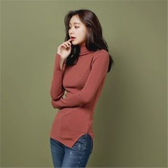 Styleberry - Turtle-Neck Slim-Fit Knit Top