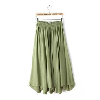 JVL - Elastic-Waist Pleated Long Skirt