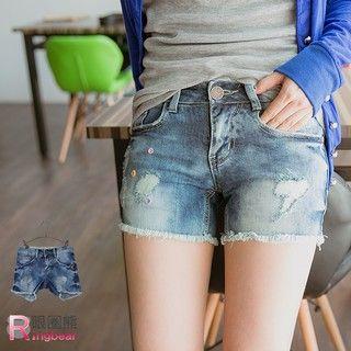 RingBear - Distressed Denim Shorts