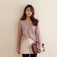WITH IPUN - V-Neck Rib-Knit Sweater