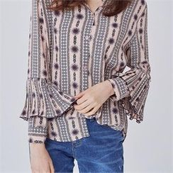 MAGJAY - Pleated-Detail Patterned Blouse