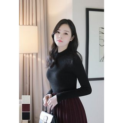 MyFiona - Mock-Neck Ribbed Knit Top