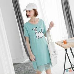 OrangeBear - Lace Hem Print Short-Sleeve Dress