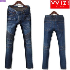 WIZIKOREA - Zip-Pocket Ribbed-Panel Jeans