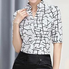 Caroe - Set: Print Elbow-Sleeve Chiffon Shirt + Pencil Skirt