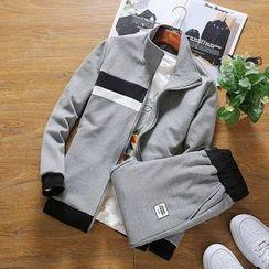 百高 - 套裝: 插色拉鍊夾克 + 褲